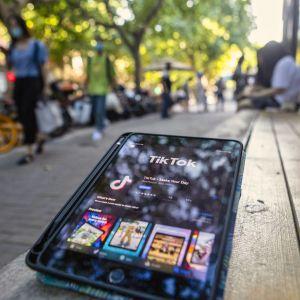 En telefon på en träbänk. På telefonskärmen kan man se Tiktoks nedladdningssida på appstore.