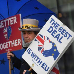 Hur ska brexit genomföras - den frågan är inte löst. Demonstration 4.12.2020 i London.