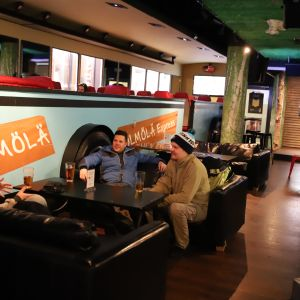 Levin Hölmölä-baarissa oli hiljaista hiihtolomaviikon alussa.