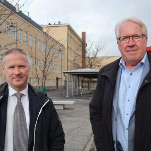 Tampereen perussuomalaisten pormestariehdokkaat Veikko Vallin ja Lassi Kaleva