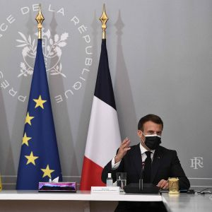 Ukrainas president Volodymyr Zelenskyj och Frankrikes president Emmanuel Macron.