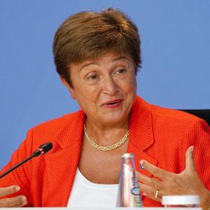 Kristalina Georgieva puhui lehdistötilaisuudessa Berliinissä elokuussa.