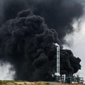 Bild på ett massivt svart rökmoln.