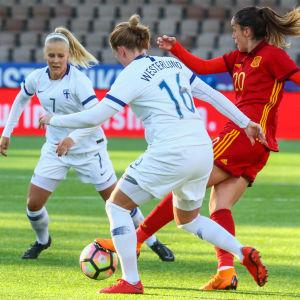 Adelina Engman och Anna Westerlund kämpar om bollen mot Spanien i april 2018.