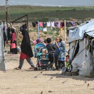Barn och kvinnor på lägret al-Hol i Syrien där fruar till IS-medlemmar och deras barn hålls.