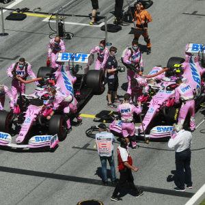Racing Point-förarna Sergio Perez och Lance Stroll i Österrike.
