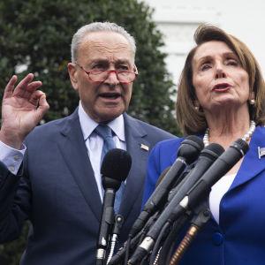 Demokraternas minoritetsledare i senaten Chuck Schumer och representanthusets demokratiska majoritetsledare Nancy Pelosi talar vid ett podium. Pelosi har en klarblå kavaj, medan Schumer har en mörkblå kavaj, eller vad som ser ut att vara en kostymrock.
