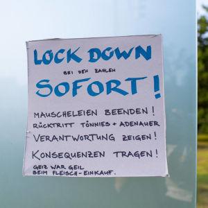 Ett tyskt handskrivet meddelande om lockout.