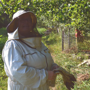 Titti Edfelt vid en bikupa.
