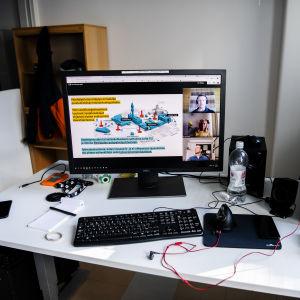 Bilden visar en datorskärm, skärmen kör distansinlärning.