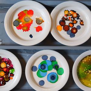 Viisi maalattuja lautasia Strömsön seinässä