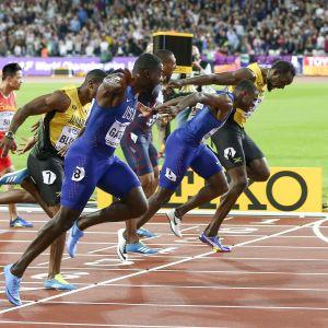 Justin Gatlin vinner VM-guld 2017 på 100 meter.