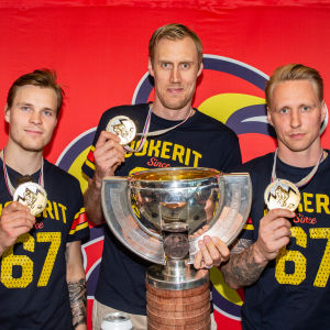 Mikko Lehtonen, Marko Anttila och Veli-Matti Savinainen visar upp VM-pokalen och sina guldmedaljer.