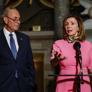 Man i kostym och blå slips står bredvid kvinna i rosa dräkt. De står framför en mikrofon i en sal.