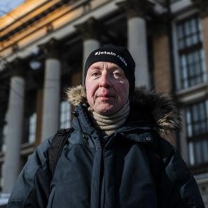 Perussuomalaisten Jussi Halla-aho valokuvattiin Kruununhaassa Snellmanninkadulla helmikuun 2021 alussa.