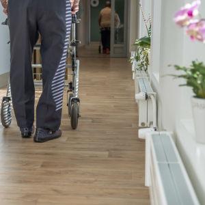 Vanhus kävelee käytävällä rollaattorin kanssa Myyrmäen vanhusten keskuksessa, Vantaalla.