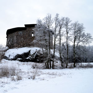 Raseborgs slott i vinterlandskap.