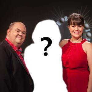 De Eurovisa Eva Frantz och Johan Lindroos samt siluetten på en person med ett frågetecken på.