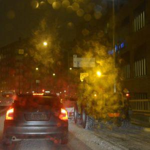 Snöröjning i Helsingfors.