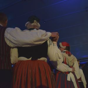 Folkdansare från Västnyland dansade shottis och polka.
