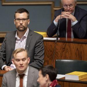 Johan Kvarnström eduskunnassa 24.10.2019