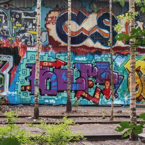 Vanhat rautatiekiskot joiden välistä kasvaa puita. Taustalla värikkäästi maalattu seinä.