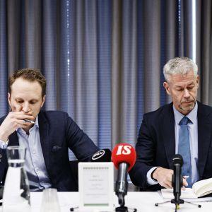 Jussi Sane och Taneli Puumalainen vid THL.