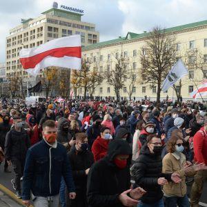 Tusentals demonstranter marscherar på gatan i protest.