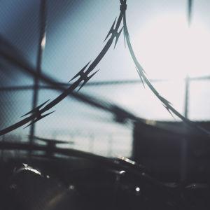 Ett taggtrådsstängsel med vassa piggar.