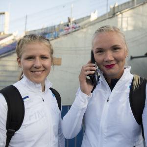 Krista Uusi-Kinnala och Salla Sipponen efter kvalet, U23-EM 2017.