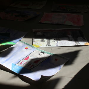 Barnteckningar med skuggor