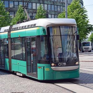 Spårvagn i Hagnäs i Helsingfors.