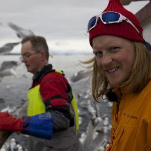 Tom Nylund och Jørgen Hesten ombord på  Sharken i Lofoten.