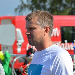 Marcus Långs vid växlingsområdet i Sun City Triathlon