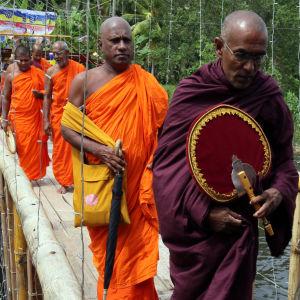 Buddhistmunkar i minneståg i Galle i Sri Lanka.