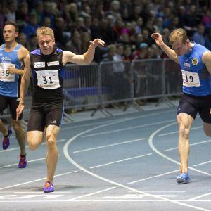 Ville Myllymäki vann 60 meter vid FM.