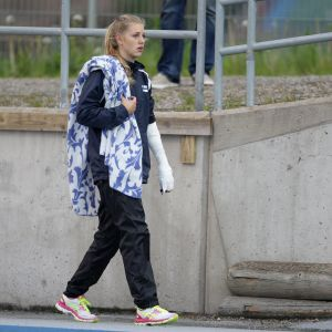 Erica Hjerpe efter stavbrottet i Lahtis, 14.6.2015.