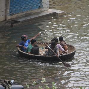 Indier flyr från översvämningarna i staden Chennai.