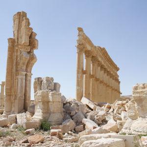 Antika staden Palmyra i Syrien som IS delvis förstört.