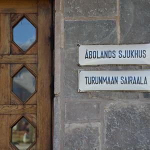Skylt vid Åbolands sjukhus