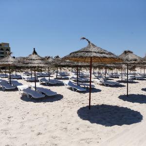 En hotellstrand med tomma solstolar i Sousse, Tunisien, där turister sköts ihjäl i juni 2015. Arkivbild från 1 juli 2015.