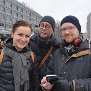 Anne Teir-Siltanen, Ari-Pekka Toivari och Simon Staffans har alla varit med och tagit fram promenadappen för Vasa centrum.