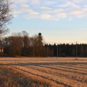 Wahlrooska hemmanet vid åkern i soluppgången.