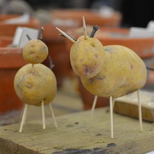 Två små djurfigurer byggda av potatis och tandpetare.
