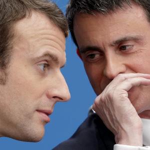 Manuel Valls och Emmanuel Macron i april 2015.
