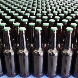 Närbild på en mängd mörkbruna ölflaskor med grön kapsyl som står på ett blått underlag.