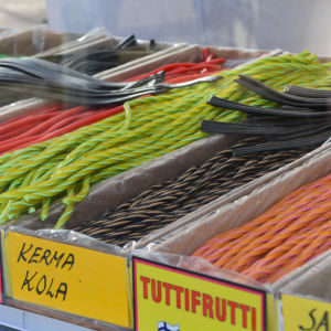Lakrits på Borgå höstmarknad.