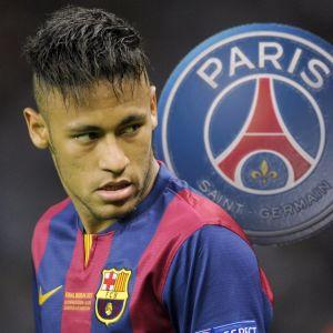 Neymar och PSG:s logo.