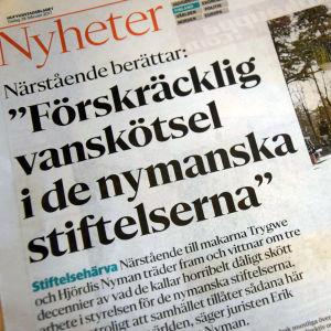 Bild som visar Hbl:s artikel om Nymanska stifelsen