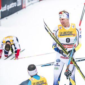 Utmattade skidåkare efter Tour de Ski 2017-2018.